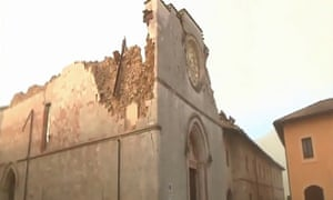 A still from TV footage showing the damage to the basilica.