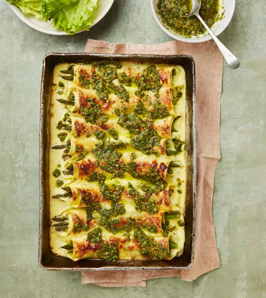 Yotam Ottolenghi's asparagus cannelloni with coriander pesto and yoghurt bechamel.