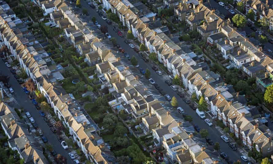 View of terraced houses from the air.