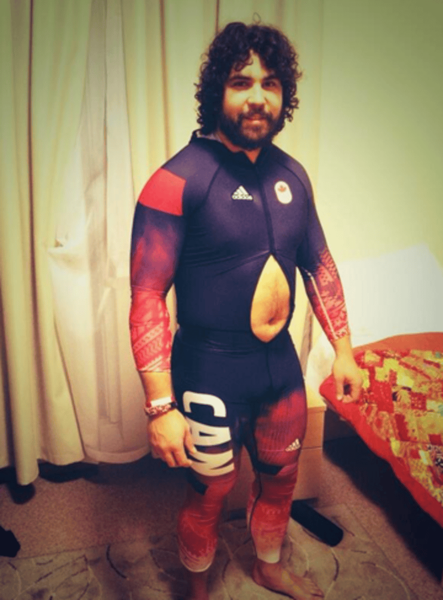 Christopher Spring's Olympic costume reveals a bit too much.
