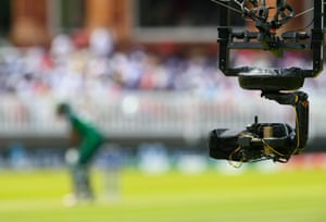 A Sky TV Spider camera records the action at Lord's for Pakistan's win against Bangladesh, on Friday.