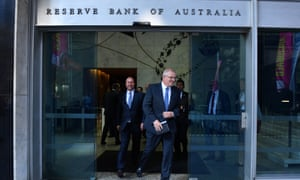 Prime minister Scott Morrison and treasurer Josh Frydenberg leave the Reserve Bank of Australia building after meeting with the RBA Governor Philip Lowe in Sydney, 22 May 2019.