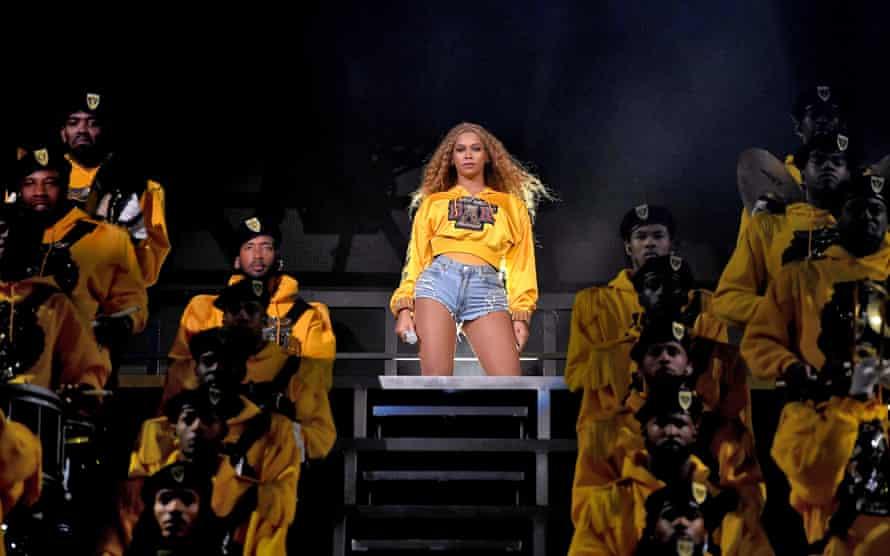Beyoncé performing at Coachella 2018.