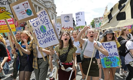 UK students take part in a strike for the climate crisis in Westminster, London