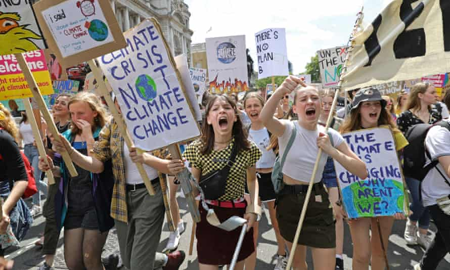 Students take part in a climate protest in Westminster last month.