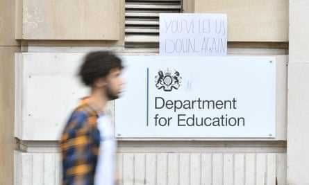 A sign left outside the Department for Education building in London, as a protest over the exam results furore.