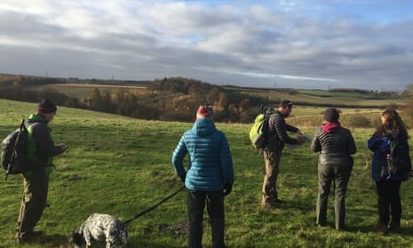 Winter walks with Curlydog. A group of wallkers on a stroll in the east Midlands countryside.