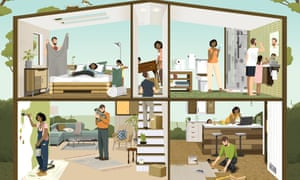 Illustration of vegan bedroom, bathroom, lounge and kitchen