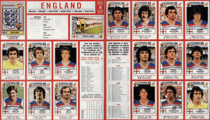 The 1982 England World Cup squad as they appeared in the Panini sticker book