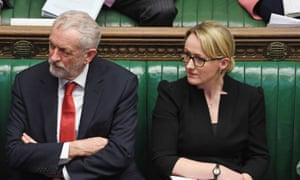 Rebecca Long-Bailey with Jeremy Corbyn in the Commons yesterday.