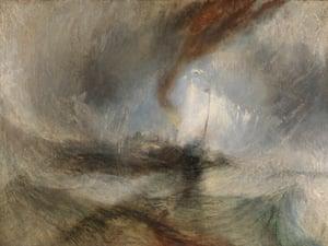 Vertiginous… Snow Storm - Barco a vapor na boca de um porto, que Turner afirmou ter pintado depois de se amarrar a um mastro durante uma tempestade.