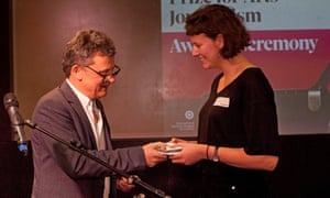 Kate Wyver, right, whose review of Dan Hett's game Sorry to Bother You earned her second spot in the 2018 Burgess award for arts journalism, with Observer editor Paul Webster.