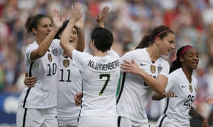 The US women in action against Ireland last year. The new deal runs through 2021, and covers the 2019 World Cup and the 2020 Olympics.
