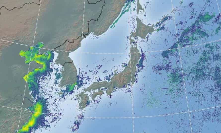 A map of north-west Pacific fishing hotspots produced by Global Fishing Watch in 2016.