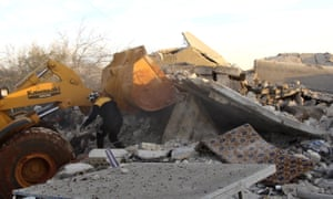 The scene of an airstrike in Maaret Musreen, Idlib province, on 5 March 2020