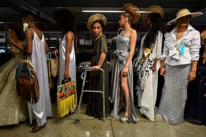 Models backstage at a Walkway Inclusion fashion show in Cali, Colombia