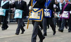 Members of the Freemasons parading through the City of London.