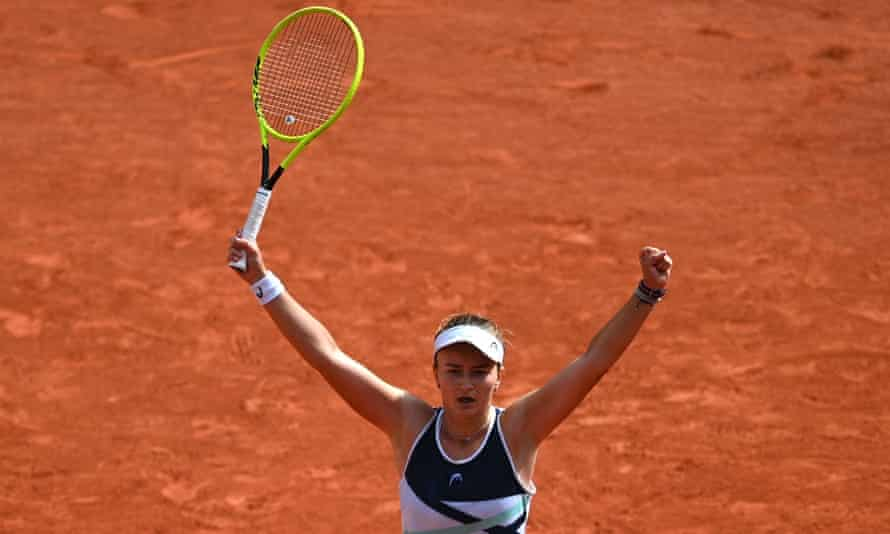 Barbora Krejcikova celebrates winning her first singles grand slam title