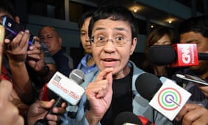 Maria Ressa speaking to the media in February