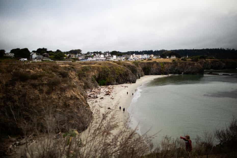 The coastline and the town of Mendocino, California.