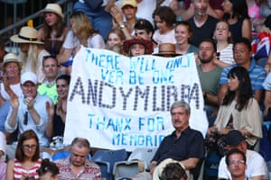 The crowd show their appreciation of Murray, a five-time beaten finalist at the Australian Open
