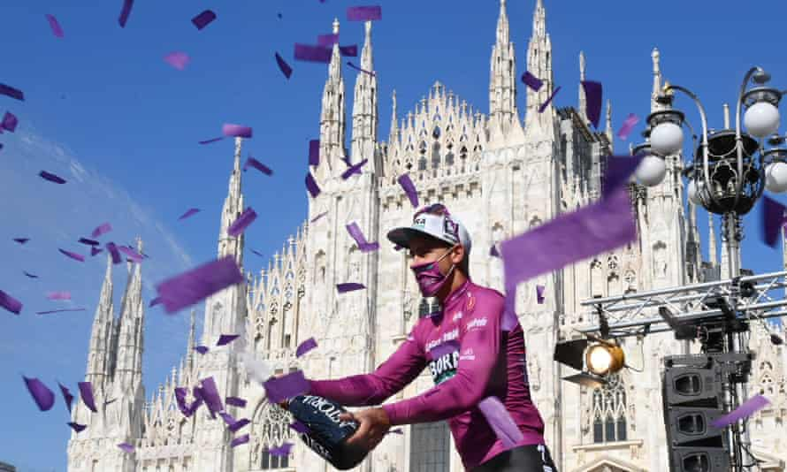 Peter Sagan enjoys the moment after the final stage of the Giro d'Italia in Milan in May. The Slovakian will lead the charge for Bora again in France.