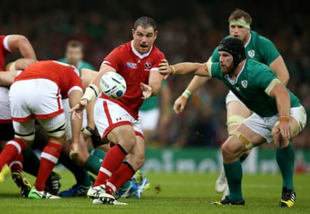 Aaron Carpenter (centre) in action with Ireland's Sean O'Brien. Carpenter has retired after winning 80 caps for Canada, while O'Brien is one of many absentees from the opening round of Six Nations games this weekend.