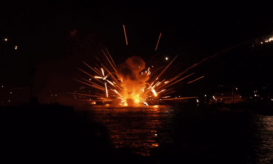 Armata, ship on fire, Spetses