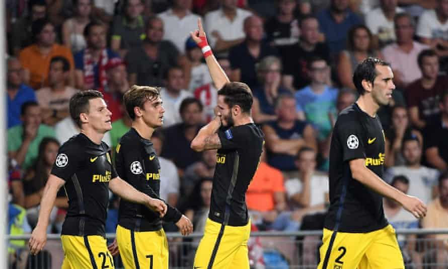 Atlético Madrid's Saul Niguez celebrates the winning goal against PSV.