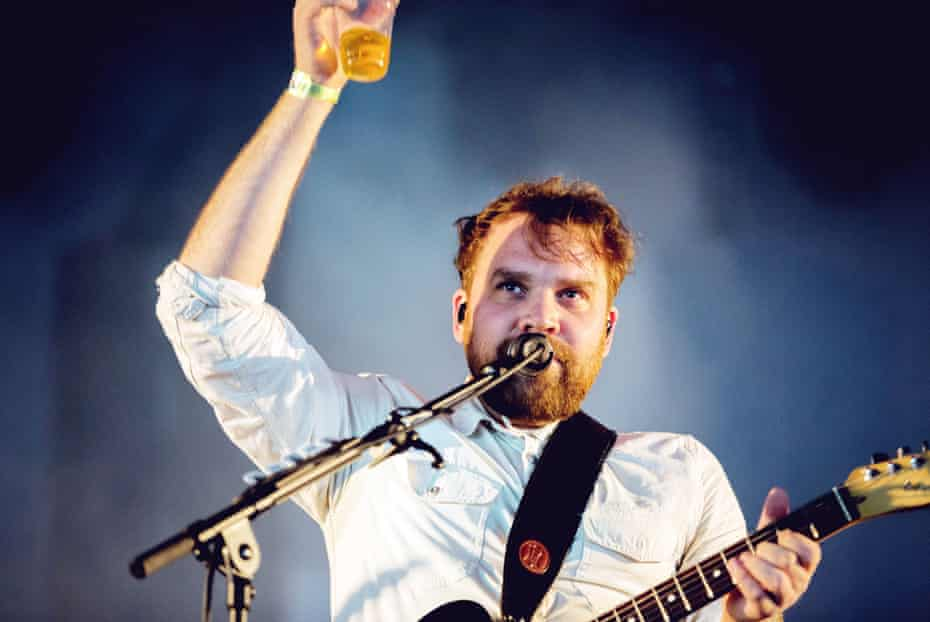 Scott Hutchison on stage with Frightened Rabbit.