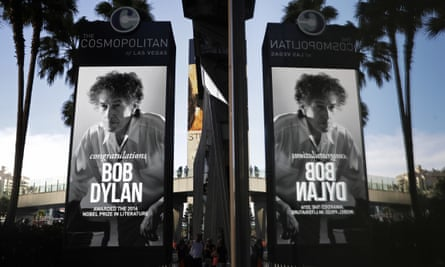 A sign outside the Cosmopolitan in Las Vegas congratulating Bob Dylan for winning the Nobel prize in literature.