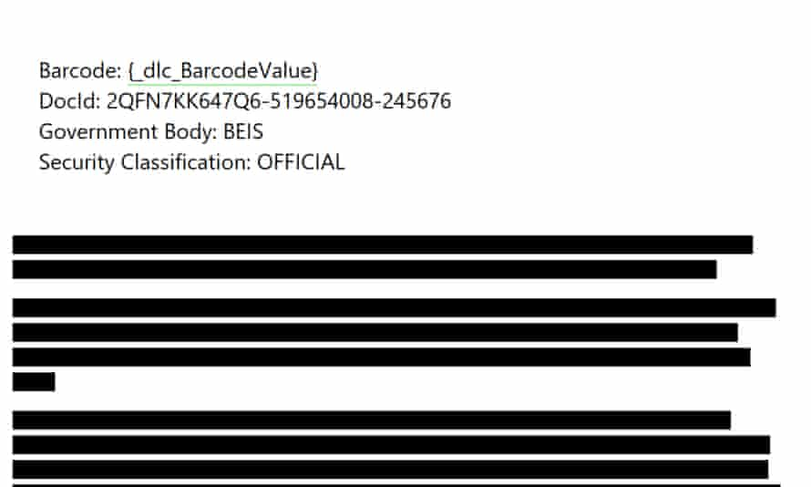 A page from an official Sage report critical of government proposals over the coronavirus lockdown that was heavily redacted