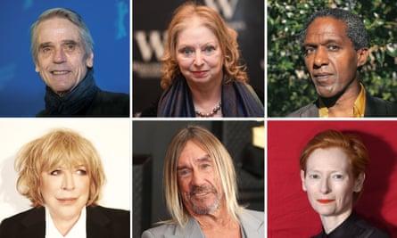 Jeremy Irons, Hilary Mantel, Lemn Sissay, Marianne Faithful, Iggy Pop and Tilda Swinton.