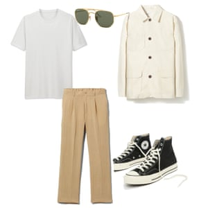 Summer cool T-shirt, £5.90, uniqlo.com, Sunglasses, £139, ray-ban.com, Jacket, £189, universalworks.co.uk, Trousers, £35, weekday.com, Trainers, £70, Converse asos.com