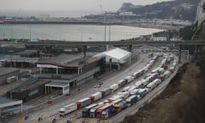 Lorries queue in Dover port on 19 March. The port authority fears leaving the EU customs union will lead to huge holdups for up to 10,000 lorries passing through each day.