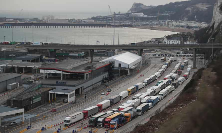 Lorries queue up at the port of Dover
