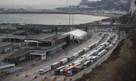 Lorries queue at the port of Dover.