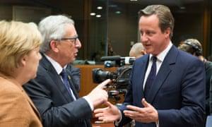 Inside Europe: Angela Merkel, Jean-Claude Juncker and David Cameron.