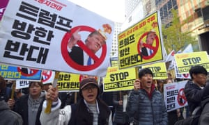 South Korean protestors in Seoul last week ahead of Donald Trump's first trip to Asia.