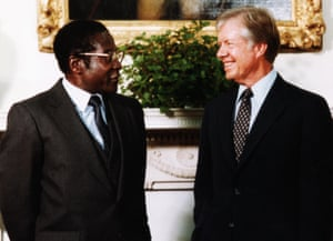 Jimmy Carter, the US president, meets Robert Mugabe in Washington on 27 August 1980