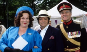 Moray Watson as the brigadier, right, with David Jason as Pop Larkin and Pam Ferris as Ma in The Darling Buds of May, 1992.