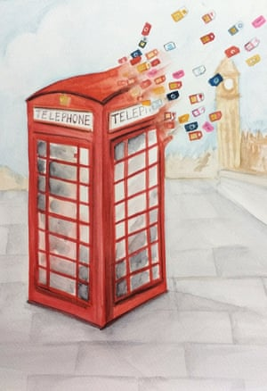 London, old and new! Red phone booths, synonymous with the city, giving way to new mobile sim cards. Water colour on paper Artwork: nidhis/GuardianWitness