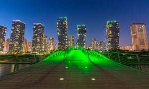 Songdo at night, Incheon, South Korea.