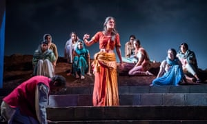 Anya Chalotra, centre, in The Village by April De Angelis at Theatre Royal Stratford East.