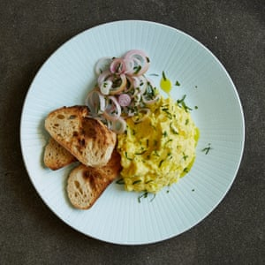 Nathan Outlaw's smoked haddock brandade with pickled shallot salad.