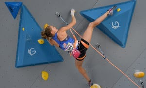 Margo Hayes competes during the sport climbing lead single women's qualification of the World Games in Wroclaw, Poland, last year.