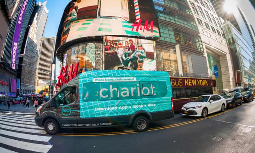 A van used by Ford's commuter ride-sharing service, Chariot, in New York's Times Square.