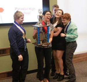 Krulder's students celebrate winning an academic decathlon.