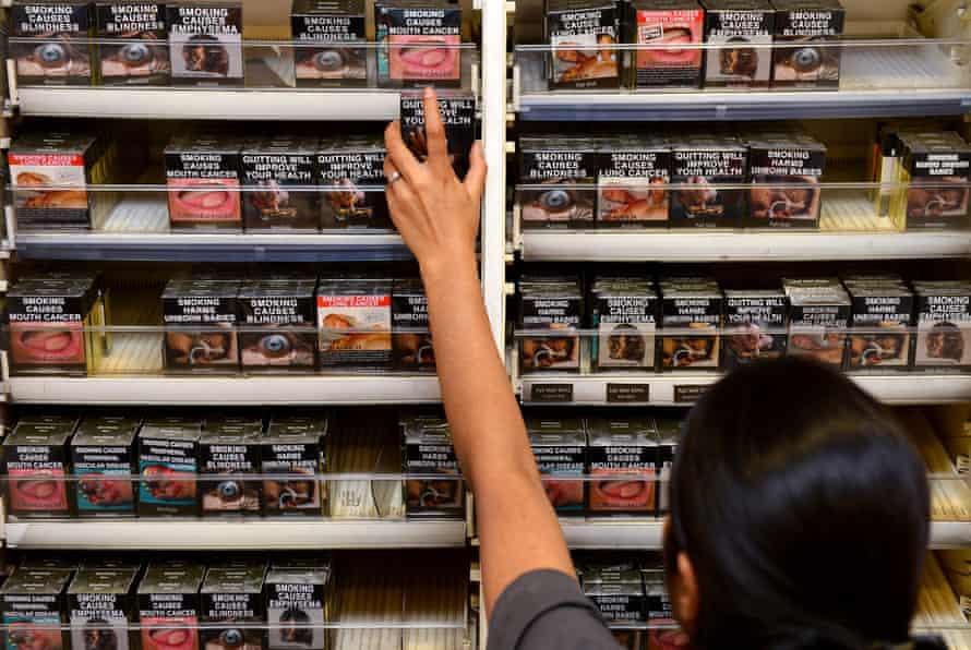 Cigarettes on shelves in Sydney, Australia.