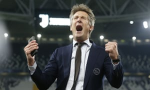 Edwin van der Sar celebrates after the win at Juventus that helped vindicate the approach he and Ajax have taken.